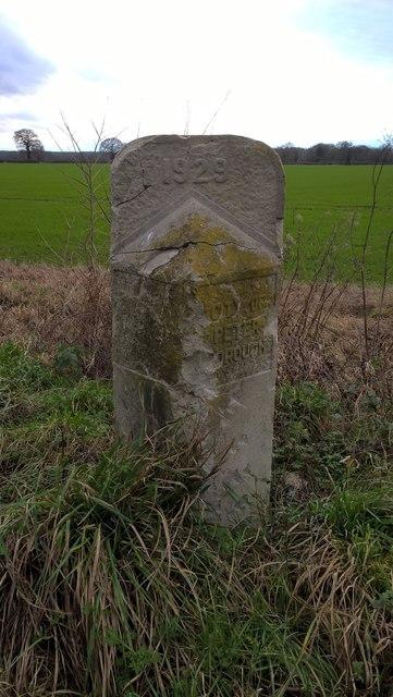 Former council boundary stone near Werrington