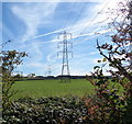 SK6535 : Power lines and farmland near Cotgrave by Mat Fascione