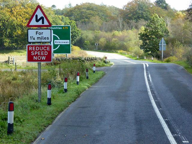 Eastbound A75 near Craighlaw Mains