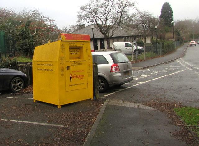 Yellow donations bin, Camden Road, Brecon