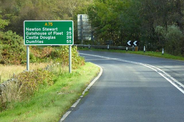 Eastbound A75 near Halfway House