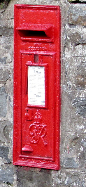 King George VI postbox in a Well Place wall, Cwmbach