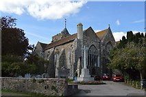 TQ9220 : War Memorial and Church of St Mary by N Chadwick
