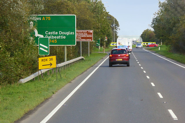 Eastbound A75 north of Castle Douglas