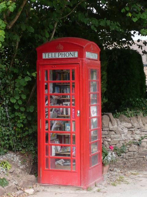 Book exchange in former telephone box