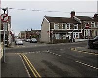 ST1586 : No Right Turn sign and four No Entry signs facing Claude Road, Caerphilly by Jaggery