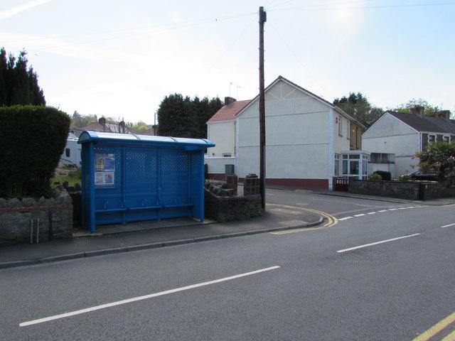 Blue bus shelter, Llantwit Road, Llantwit, Neath