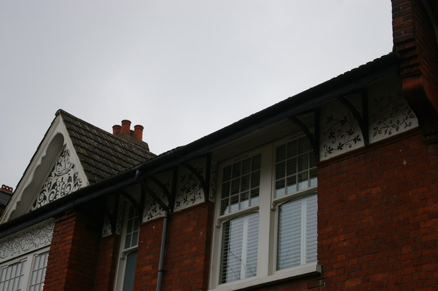 Plaster decoration on houses, Dukes Avenue, Muswell Hill