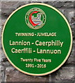 ST1586 : Twinning green plaque, Caerphilly by Jaggery