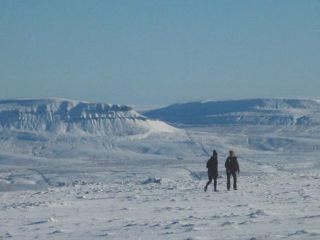 Winter snow on Ingleborough summit