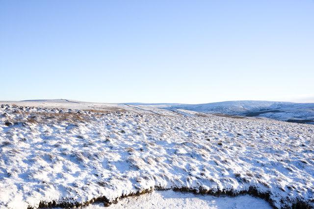 Snowed moorland south-east from bridleway on Burtree Fell