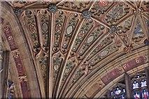 ST6316 : Sherborne Abbey: Fan vaulting detail 3 by Michael Garlick