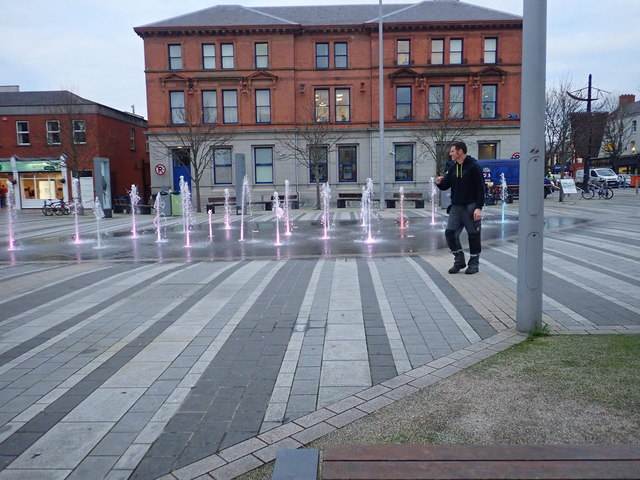 Coloured water fountain in Market Square, Dundalk