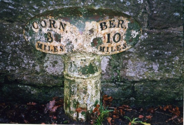 Old Milepost by the A698, west of Twizel Bridge, Cornhill on Tweed