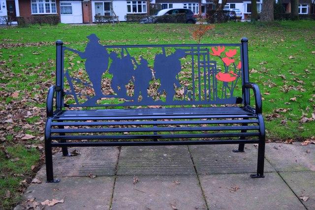 Seat in Stourport War Memorial Park (1), Stourport-on-Severn