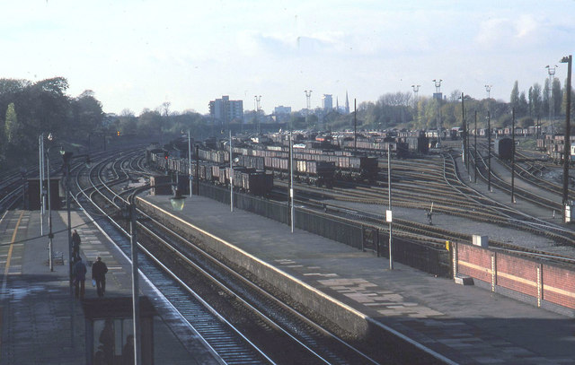 Acton Main Line station 1980 with marshalling yard