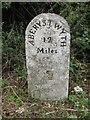 SN5065 : Old Milestone by the A487, Morcha-uchaf, Llansantffraid Parish by Milestone Society