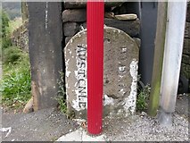 SE1307 : Old Boundary Marker by the A6024, Woodhead Road, Burnlee Bottoms, Holme Valley by Milestone Society