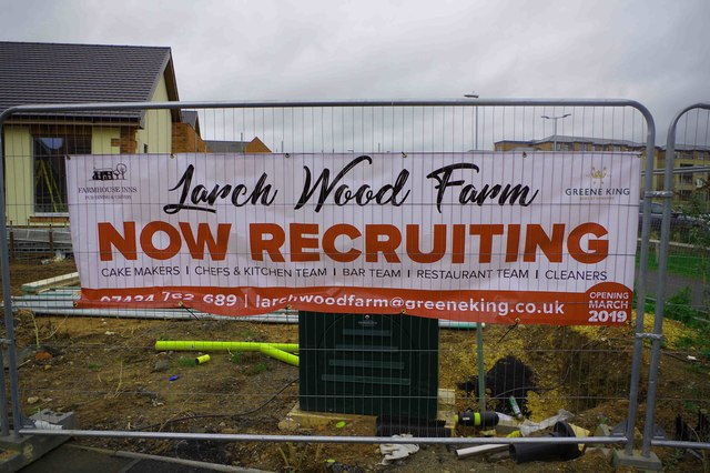 Larch Wood Farm under construction (2) - recruitment poster, Silverwoods Way, Kidderminster, Worcs