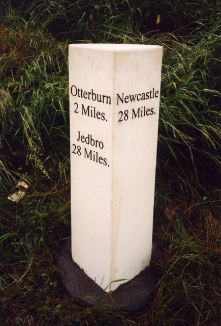 Replacement Milestone by the A696, west of Raylees, Elsdon Parish