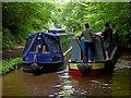 SJ6932 : Narrowboats in Woodseaves Cutting, Shropshire by Roger  Kidd