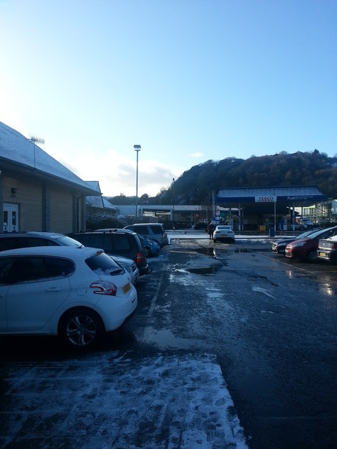 Snowy filling station by Tesco