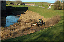 NY0265 : Clearing Debris From Caerlaverock Moat by Mary and Angus Hogg