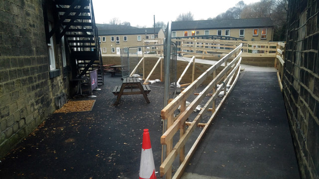Ramps to replacement footbridge over Cragg Brook (Elphin Brook), Mytholmroyd