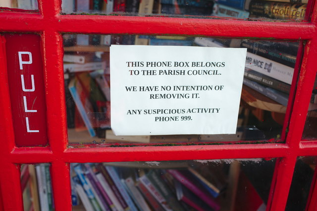 Notice in former telephone box