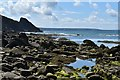 SM8519 : Rocky foreshore at the southern end of Newgale Sands by Simon Mortimer