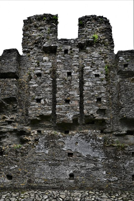 Restormel Castle: The Chapel east window, blocked during the Civil War