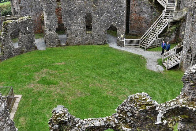 Restormel Castle: The Kitchen and Gatehouse from the Wall-walk
