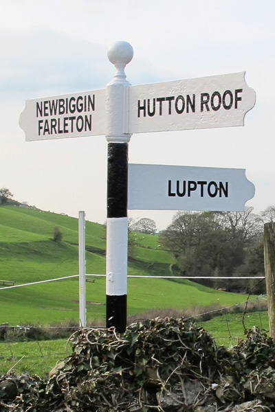 Old Direction Sign - Signpost by Newbiggin Lane, Hutton Roof Parish