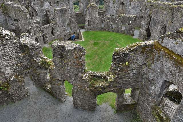 Restormel Castle: The Guardroom from the Wall-walk