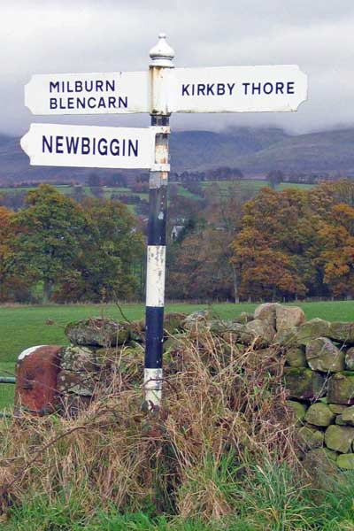 Old Direction Sign - Signpost by Maiden Way, Newbiggin Parish