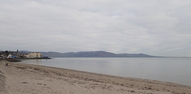 The hills of the Cooley Peninsula from the southern end of the Promenade at Blackrock