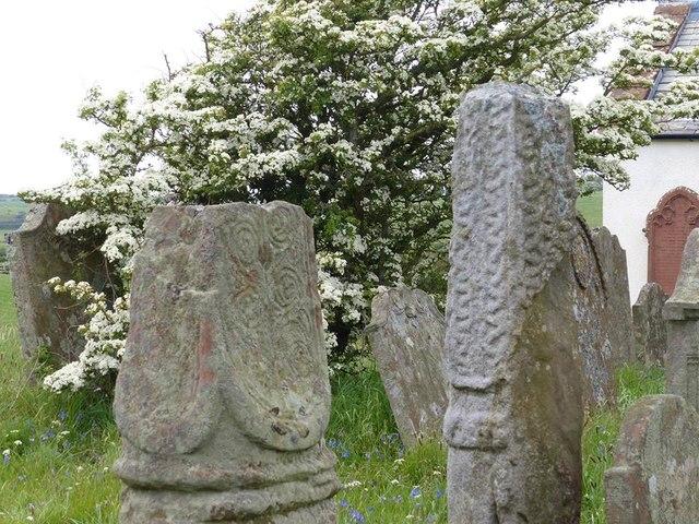 Two Medieval Cross Shafts, St Bridget's Churchyard, Beckermet