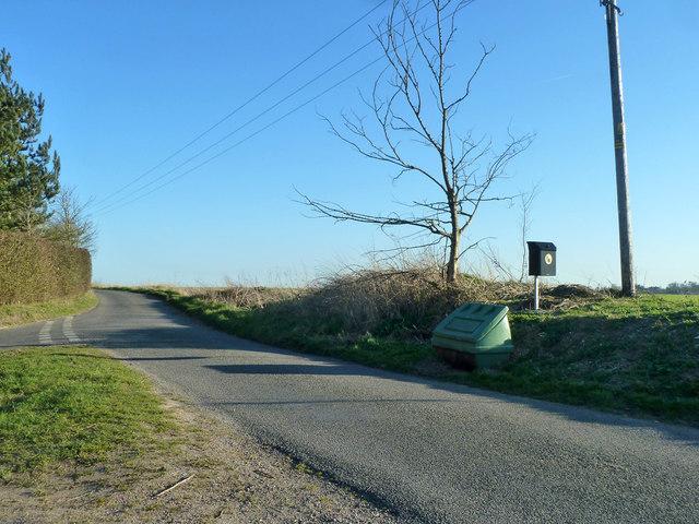 Bins at rural road junction