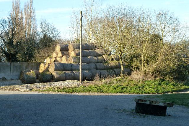 Straw bales, Strethall Hall Farm
