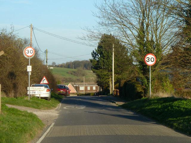 Strethall Road enters Littlebury