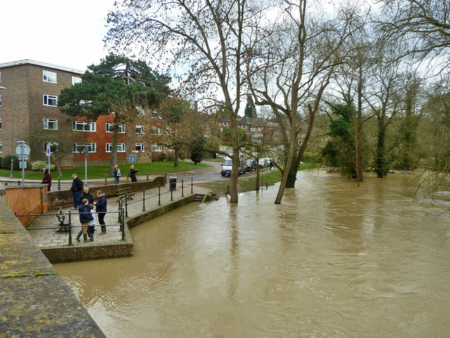 River Mole in flood, Leatherhead