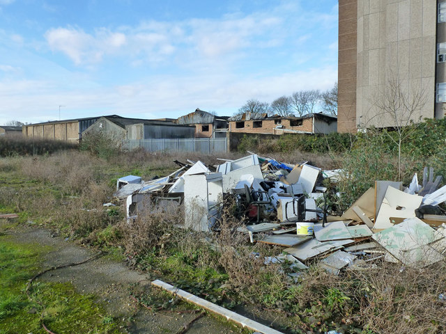 Rubbish on vacant site, Fairfield Avenue, Staines