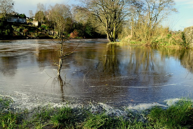 Camowen River in flood at Campsie, Cranny and Mullaghmore