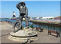TM5492 : RNLI lifeboat man statue at Lowestoft by Mat Fascione