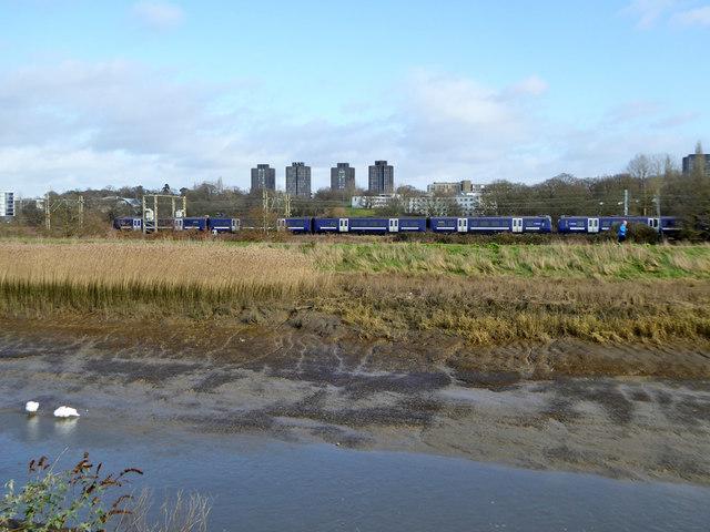 Train on Clacton line by Essex University