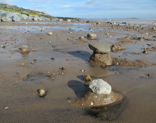 Boulder clay mounds on the beach