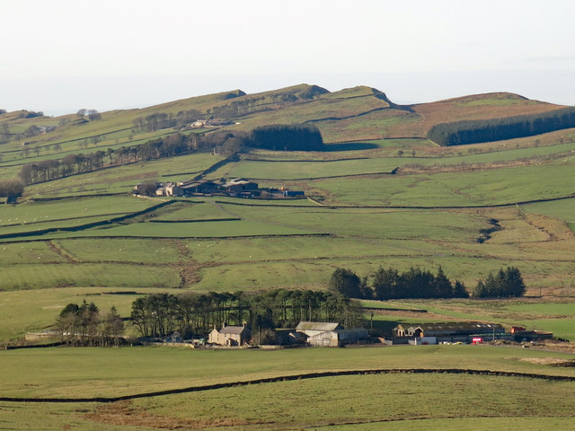 Farmland north of Hadrian's Wall and Cawfield Crags