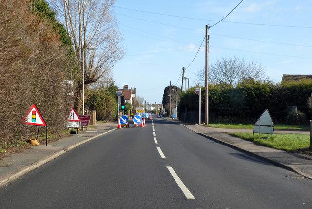 Road works, Thorpe Road, Kirby Cross