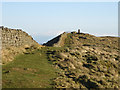 NY7467 : The line of Hadrian's Wall above Winshield Crags by Mike Quinn