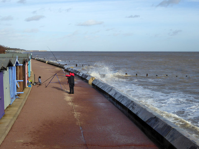 Fishing at high tide, Frinton-on-Sea